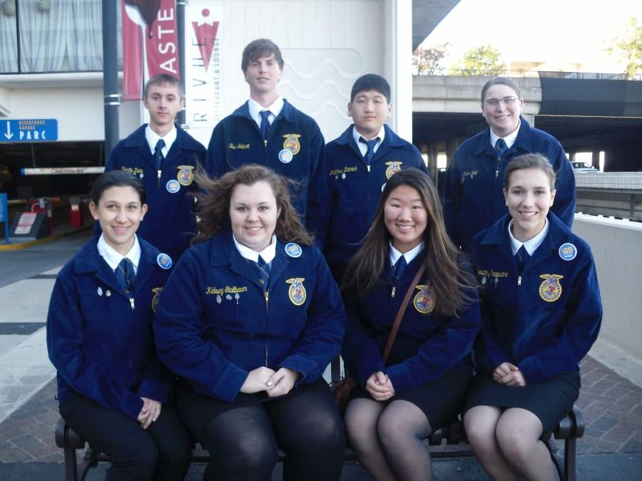 David+City+FFA+Chapter+traveled+to+Louisville%2C+Ky.+for+the+National+FFA+Convention+Oct.+29-Nov.+1.+Members+pictured+include+%28Back+row+left+to+right%29+FFA+Vice+President+senior+Dustin+D.%2C+junior+Zach+S.%2C+sophomore+Matthew+D.%2C+David+City+High+School+alumna+Chelsea+Sidel%2C+%28Front+row+left+to+right%29+Aquinas+senior+Vanessa+W.%2C+FFA+Secretary+senior+Kelsey+S.%2C+freshman+Debbie+W.%2C+and+Aquinas+sophomore+Victoria+W.
