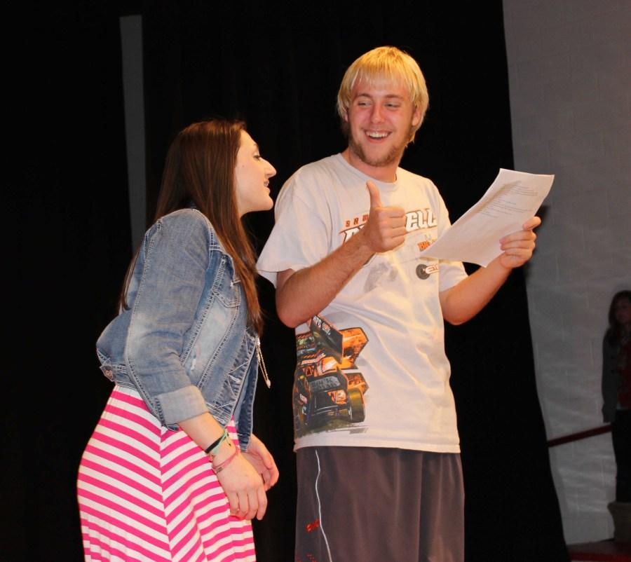 Senior+Jake+K.+and+sophomore+Becca+M.+rehearse+their+lines+for+the+first+scene.+The+two+will+be+performing+the+main+characters+as+brother+and+sister.+