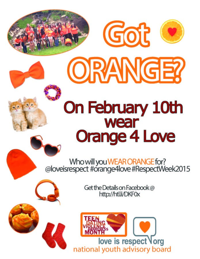 PE+teacher+Connie+Lentz+and+her+health+class+students+encourage+all+students+and+staff+to+wear+orange+on+Tuesday%2C+Feb.+10+to+promote+love+and+respect+and+to+raise+teen+dating+violence+awareness.