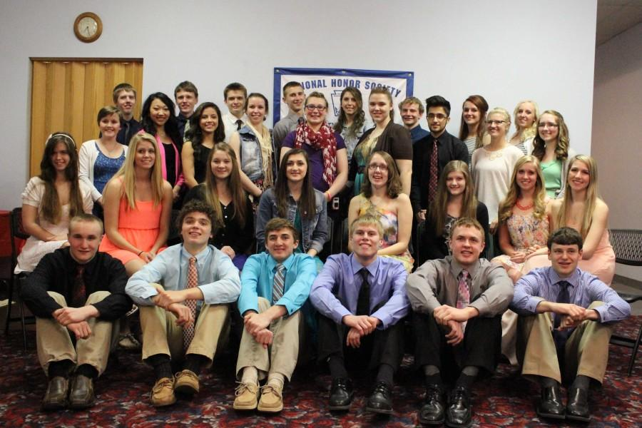 The members of NHS pose for a group photo after the banquet. There are now 33 members in all.