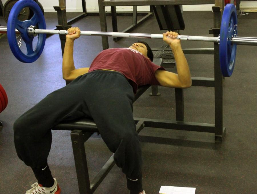 Executing+the+bench+press%2C+senior+Michael+V.+utilizes+the+new+equipment.+The+new+equipment+was+contributed+by+the+David+City+Booster+Club+with+funding+approval+by+the+school+board.