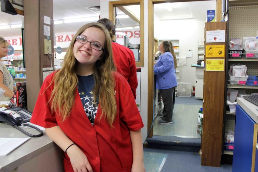 Senior Mariah Houser juggles school and two jobs by spending most of her time after school at David City Discount Pharmacy and working on web design for two companies. Houser recently published a website for the Thorpe Opera House.