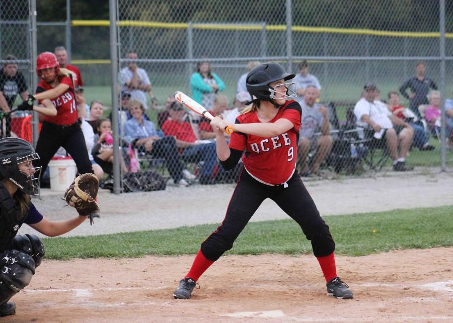 Keeping+her+eye+on+the+ball%2C+freshman+Ariah+Stara+prepares+to+swing+at+a+pitch.+Stara+scored+one+run+and+one+hit+on+the+night+for+the+home+game+on+Sept.+29.