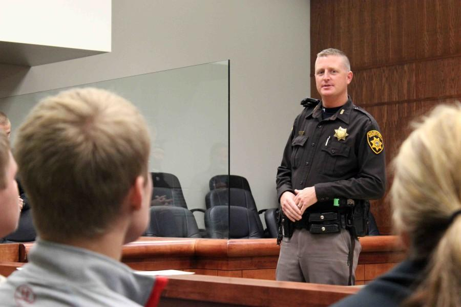Sheriff Siebken welcomes juniors and seniors of Butler County into the courtroom to commence County Government Day. Approximately 20 students from each Butler County school was allowed to attend the day.
