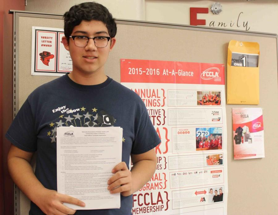 Sophomore+Cole+Martinez+shows+off+his+FCCLA+State+Officer+application.+State+FCCLA+Election+will+be+held+on+April+4+in+Lincoln%2C+Neb.+