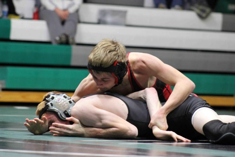 Sophomore Seth Styskal looks to turn Drew Trautman in an arm bar series move. Styskal remains undefeated at 10-0 for the season.