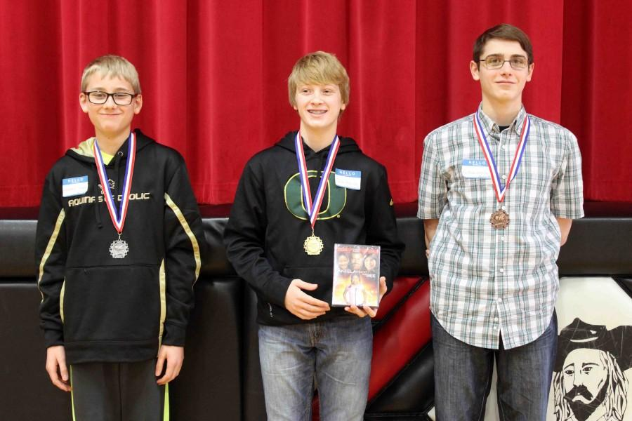 Aquinas sixth grader Matthew Verbka takes second, David City Middle School seventh grader Dylan Vodicka captures first, and Aquinas eighth grader Nathan Johnson obtains third. Vodicka will proceed to the State Competition on March 12 at the Omaha Public School Teacher-Administration Building.