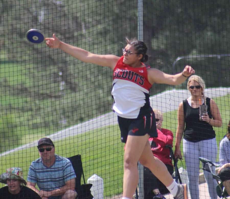 """Junior Eli Alvarado competes for State placement in discus. Alvarado received fifteenth with a throw of 84' 02""""."""