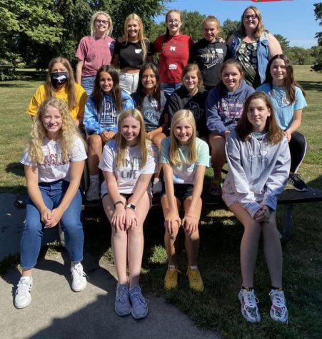 YAB 2020-21 Members. Front Row: (L-R): Paige Oltmans, Emma DeShon, Sonja Dingman, and Ava Schlotfeld. Middle Row (L-R): Kira Jones, Lena Eschiti, Jessica Martinez, Kinley Casey, Caitlyn Mitchell, and Kaydence Hansen. Back Row (L-R): Jasmine Snyder, Piper Fernau, Allana Heath, Beth Poisel, and Tasha Pederson.
