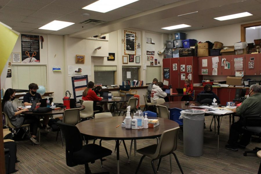 Mr. Ockander's 4th period Speech class focuses on end of the year work.